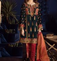 Lawn Embroidery Black Suit With Chiffon Printed Duppata (DRL-462) (Unstitched) Price in Pakistan