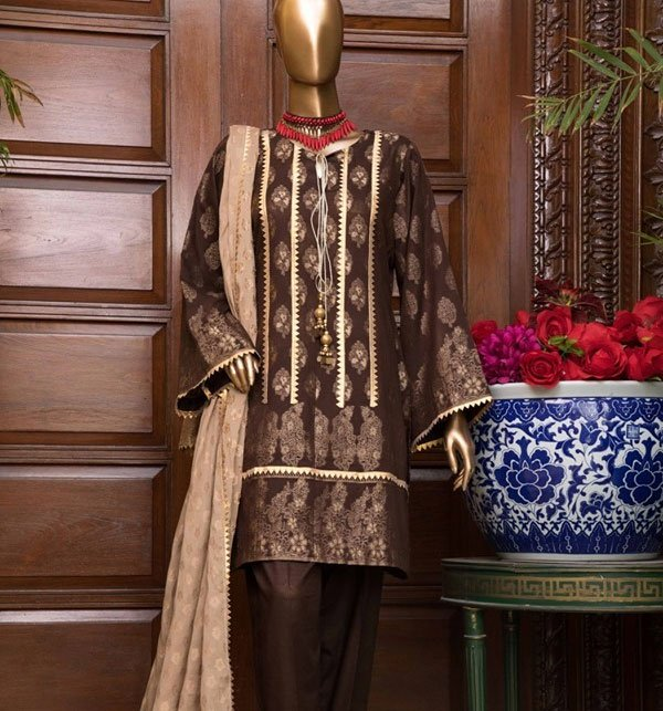 Jacquard Broshia Lawn Suit With Jacquard Dupatta (Unstitched) (JL-01) Price in Pakistan