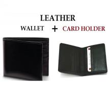 Leather Wallet + Card Holder BLACK Price in Pakistan
