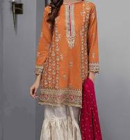 Linen Embroidery Suit With Wool Shawl Printed Trouser (Unstitched) (LN-110) Price in Pakistan