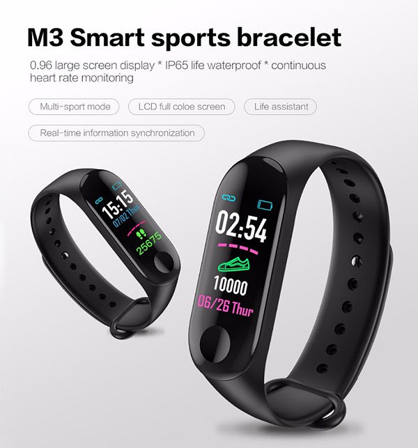 M3 PLUS BLACK BLOOD PRESSURE WATERPROOF BLUETOOTH FITNESS BRACELET HEART RATE MONITOR Price in Pakistan