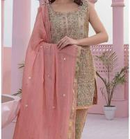 Masoori Dress with Jamawar Trouser & Chiffon Embroidered Dupatta (CHI-248) (Unstitched) Price in Pakistan