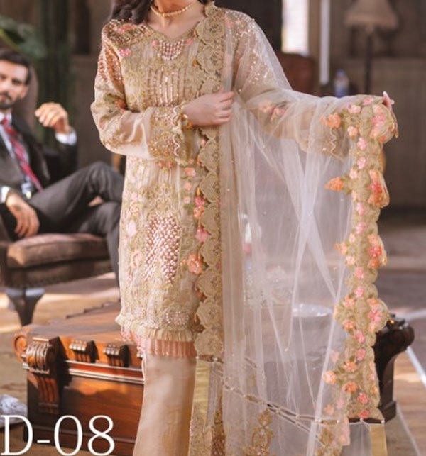 Masoori Heavy Net Embroidered Suit (CHI-226) (Unstitched) Price in Pakistan