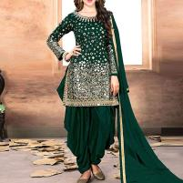 Mirror Work Green Embroidered Chiffon Party Dress 2020 (Unstitched) - (CHI-324) Price in Pakistan