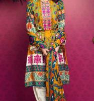 Multi color Lawn Embroidery Suit With Chiffon Printed Duppata (DRL-464) (Unstitched) Price in Pakistan