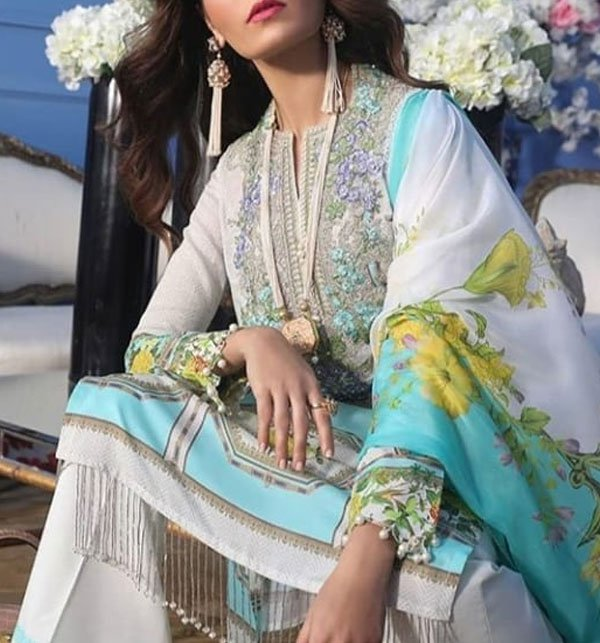 Embroidered Lawn Suit With Chiffon Dupatta (DRL-381) (Unstitched) Price in Pakistan