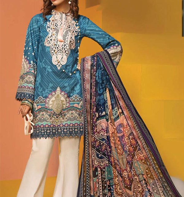 Embroidered Lawn Suit With Chiffon Dupatta (DRL-384) (Unstitched) Price in Pakistan