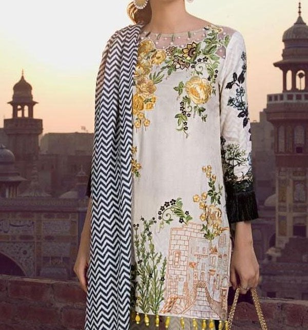 Embroidered Lawn Suit With Chiffon Dupatta (DRL-389) (Unstitched) Price in Pakistan