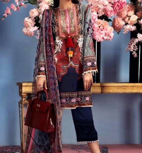 LINEN Embroidery Suit 2019 2020 With Chiffon Duppata (Unstitched) (LN-64) Price in Pakistan