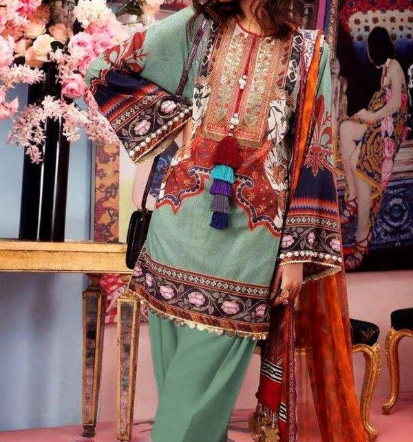 LINEN Embroidery Suit With Chiffon Duppata (Unstitched) (LN-65) Price in Pakistan