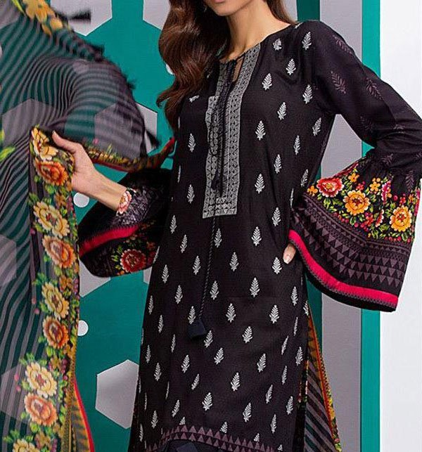 Embroidered Lawn Dress With Chiffon Dupatta (DRL-260) (Unstitched) Price in Pakistan