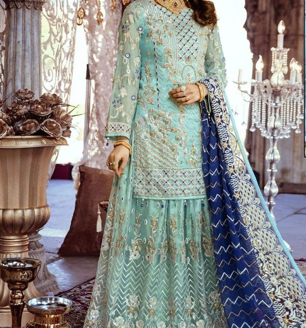 HEAVY NET Embroidery Suit with net Embroidery Dupatta UnStitched (CHI-294) Price in Pakistan