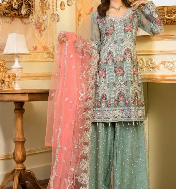 Heavy Embroidered Suit With Net Dupatta (CHI-285) (Unstitched) Price in Pakistan