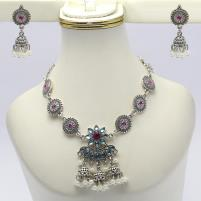 Artificial Silver Necklace Set For Women - (PS-136) Price in Pakistan