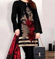 New Black Winter Khaddar Embroidery Dress 2019 2020 With Wool Dupatta (KD-70) (UnStitched) Price in Pakistan