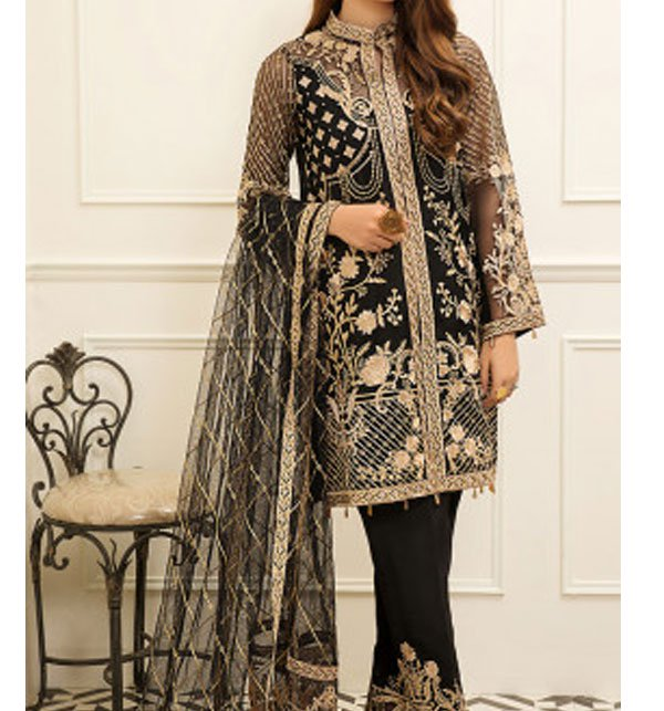 New Organza Fully Heavy Embroidered Suit With Net Embroidered Dupatta (Unstitched) (CHI-291) Price in Pakistan