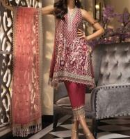 Organza Heavy Embroidered Suit 2019 2020 With Net Embroidered Duppta  (CHI-308) Price in Pakistan