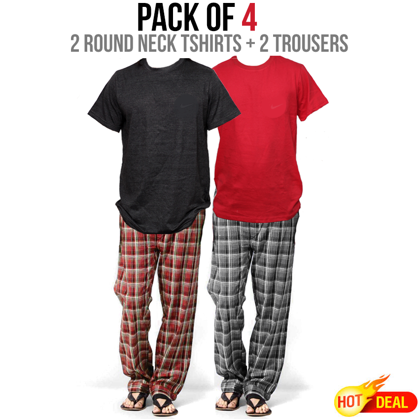 Pack 2 Round Neck T-Shirts & 2 Trousers Price in Pakistan