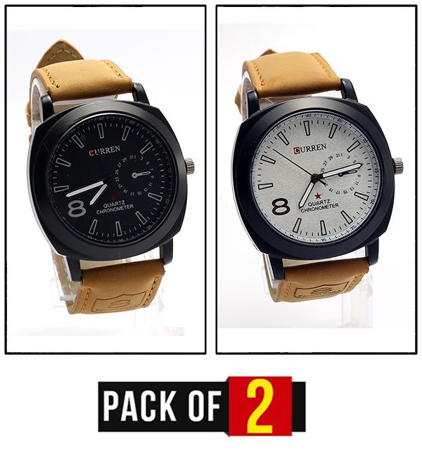 Pack OF 2 - CURREN Watch Deal For Mens (CW-77) & (CW-80) Price in Pakistan