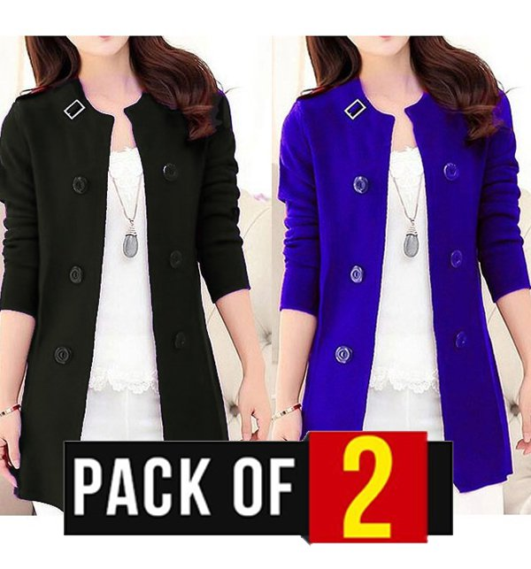 Pack of 2 - Korean Style Ladies Fleece Coats Black & Blue  Price in Pakistan