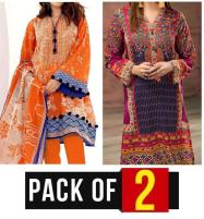 AZADI DEAL Pack OF 2 - Lawn Embroidered Suit With Chiffon Dupatta (DRL-324) & (DRL-418) Price in Pakistan