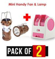 Pack of 2 Mini Portable Fan & Portable Solar Charging LED Lamp Price in Pakistan