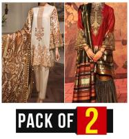 Pack OF 2 - New Embroidered Lawn Suits with Chiffon Dupatta (Unstitched) (DRL-425) & (DRL-456) Price in Pakistan