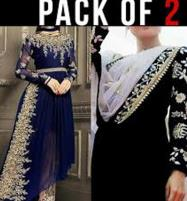 Pack of 2 - Pakistani Chiffon Suit Embroidered in Royal Blue & Embroidered Chiffon Black Suit Unstitched (CHI-33) & (CHI-35) Price in Pakistan
