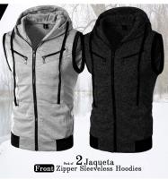 Pack of 2 - Sleeveless Zipper Hoodies Jaqueta Front Price in Pakistan