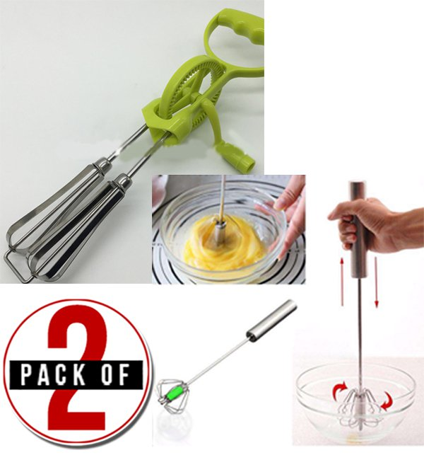 Pack of 2 Stainless Steel Hand Push Beater & Manual Double Beater Price in Pakistan