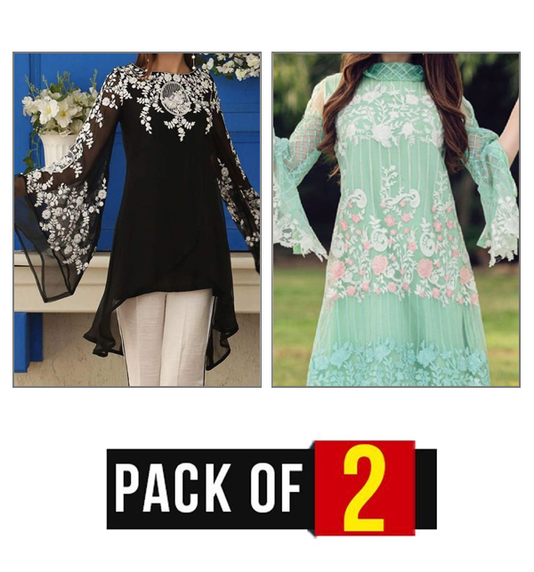 Pack of 2 Unstitched Embroidered Chiffon & Net Kurtis (EK-81,85) Price in Pakistan
