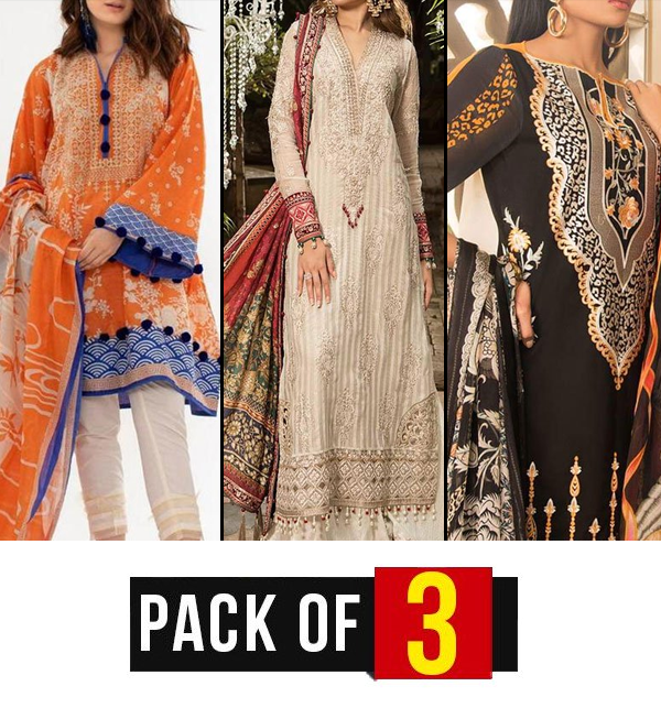 Pack of 3 Embroidery Lawn Embroidered Suit With Chiffon Dupatta (DRL-324,400,387) (Unstitched) Price in Pakistan