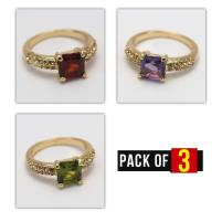 Pack of 3 Rings - Gold Platted Artificial Rings For Girls Price in Pakistan