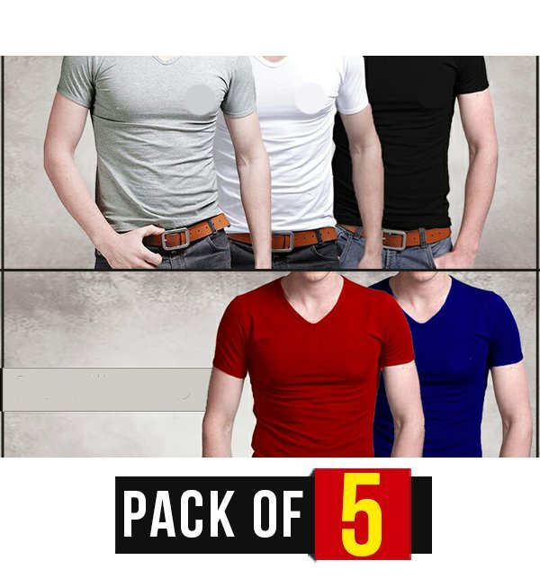 PACK OF 5 - V-NECK T-SHIRTS (DT-08) Price in Pakistan