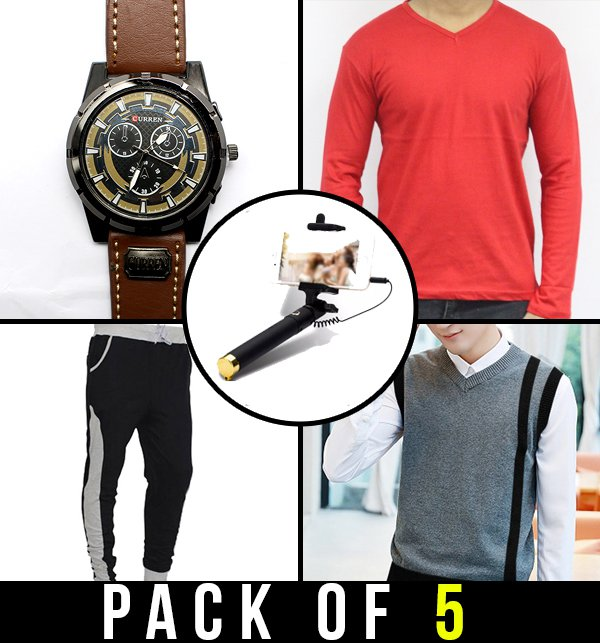 Pack of 5 - Wrist Watch, T-Shirt, Sweater, Sweatpant & Selfie Stick Price in Pakistan