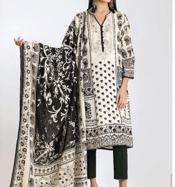 LINEN Embroidery Dress With Chiffon Duppata (Unstitched) (LN-66) Price in Pakistan