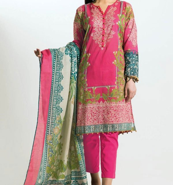 Pink Embroidered Lawn Suit With Chiffon Dupatta (DRL-402) (Unstitched) Price in Pakistan