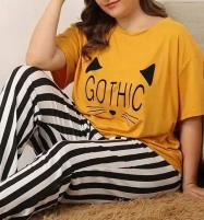 Gothic Night Dress Printed T-shirts With Striped Trouser Price in Pakistan