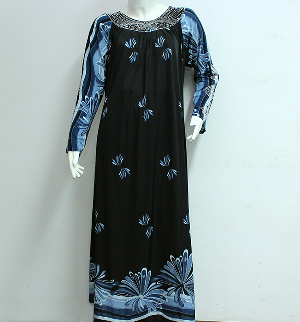 Printed Jersey Abaya Blue With Scarf (AB-28) Price in Pakistan