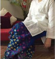 Pulkari Blue Lawn Heavy Dress (2 pcs Shirt + Trouser) (LN-13) Price in Pakistan