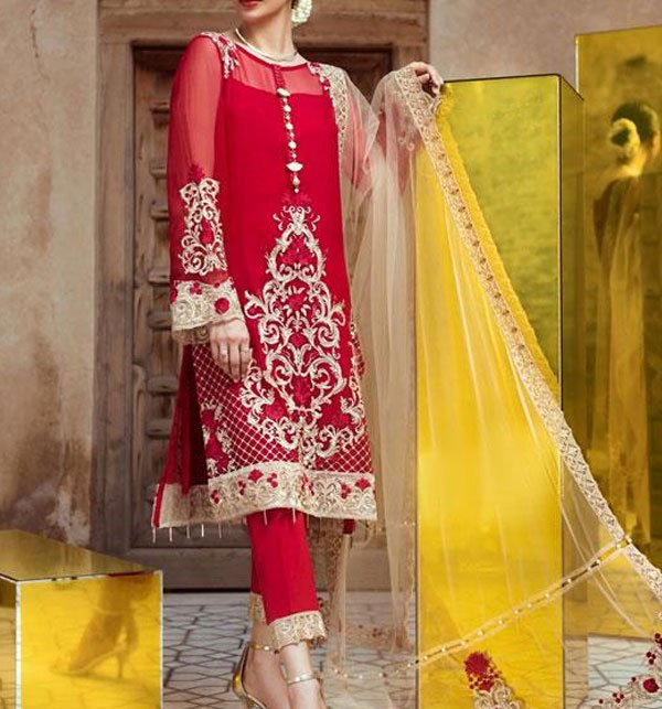 Red Galore Embroidered Luxury Bridal Chiffon Collection (CHI-275) (Unstitched) Price in Pakistan