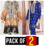 Sale Pack OF 2 - Latest Embroidered Lawn Dress 2020 with Chiffon Dupatta  (DRL-449) & (DRL-421) Price in Pakistan