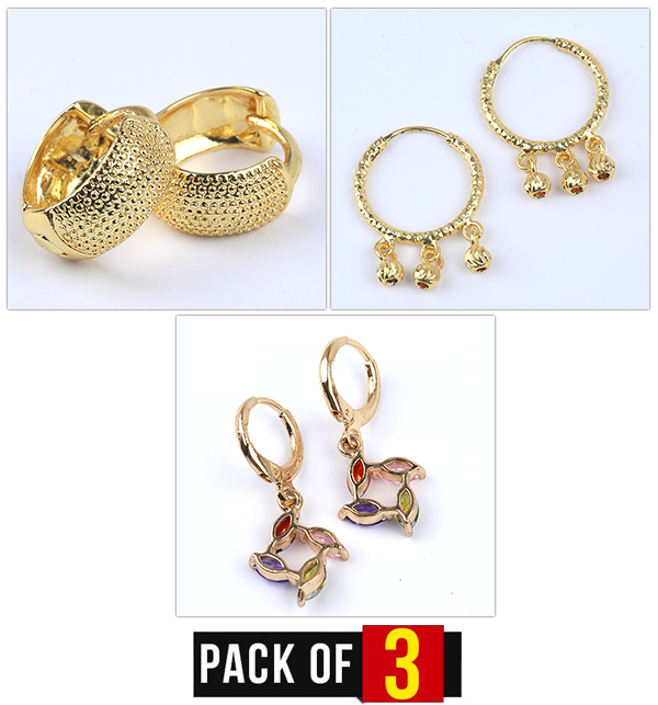 Special Deal Pack OF 3 Earrings For girls - Artificial Design (Earrings Deal-01) Price in Pakistan