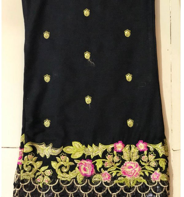 Stitched Embroidered Black Cotton Trouser For Women (Stitched Trouser) Price in Pakistan