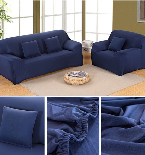 Stretch Fitted Sofa Cover - 5 Seater Dark Blue Price in Pakistan