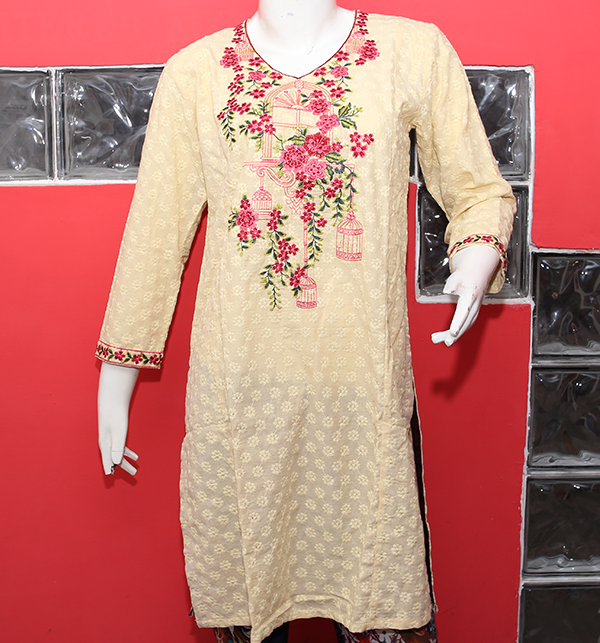 Stylish Chikan Embroidery Kurti (stitched) (EK-131) Price in Pakistan