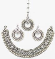 Stylish Silver & Diamond Look Necklace Set (PS-53) Price in Pakistan