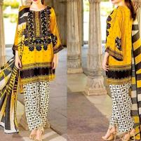 Embroidered Lawn Dress 2020 with Chiffon Dupatta UnStitched (DRL-422) Price in Pakistan