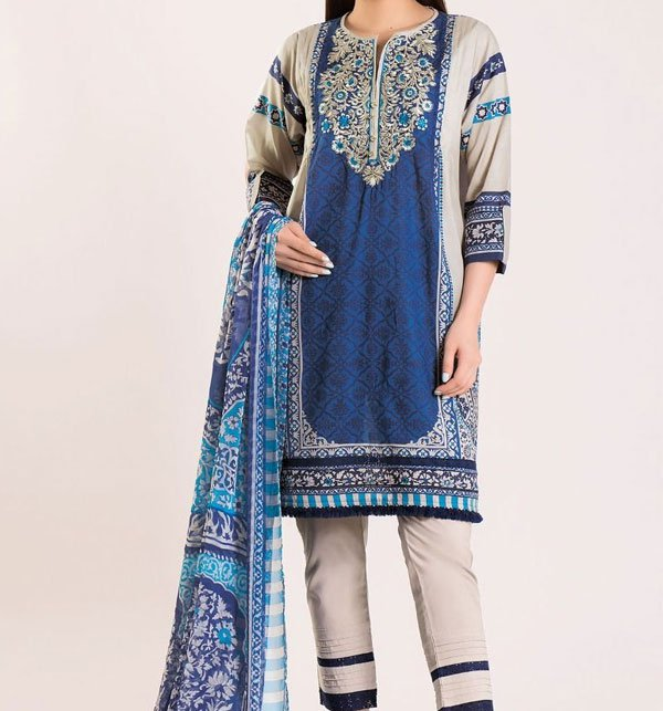 Linen Embroidered Dress with Wool Shawl (LN-75) Price in Pakistan