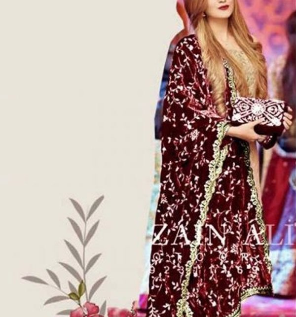 Velvet Heavy Embroidered Winter Shawl Mehroon Color (SHAWL-12) Price in Pakistan